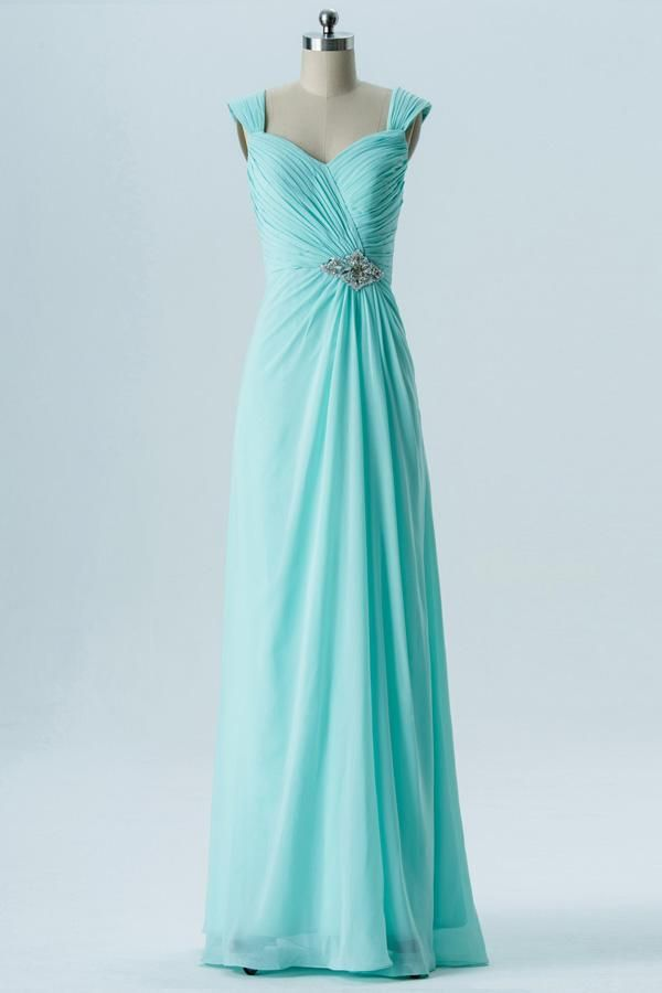 48c24f807ea Mint Green A Line Floor Length Sweetheart Sleeveless Open Back Beading  Cheap Bridesmaid Dresses B135
