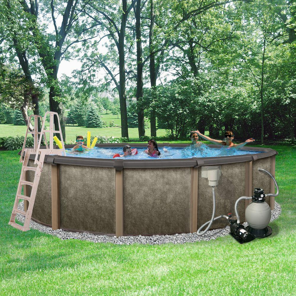 Riviera 27 Ft Round 54 In Deep 8 In Top Rail Metal Wall Swimming Pool Package Brown Gray Backyard Pool Landscaping Pool Landscaping Backyard Pool