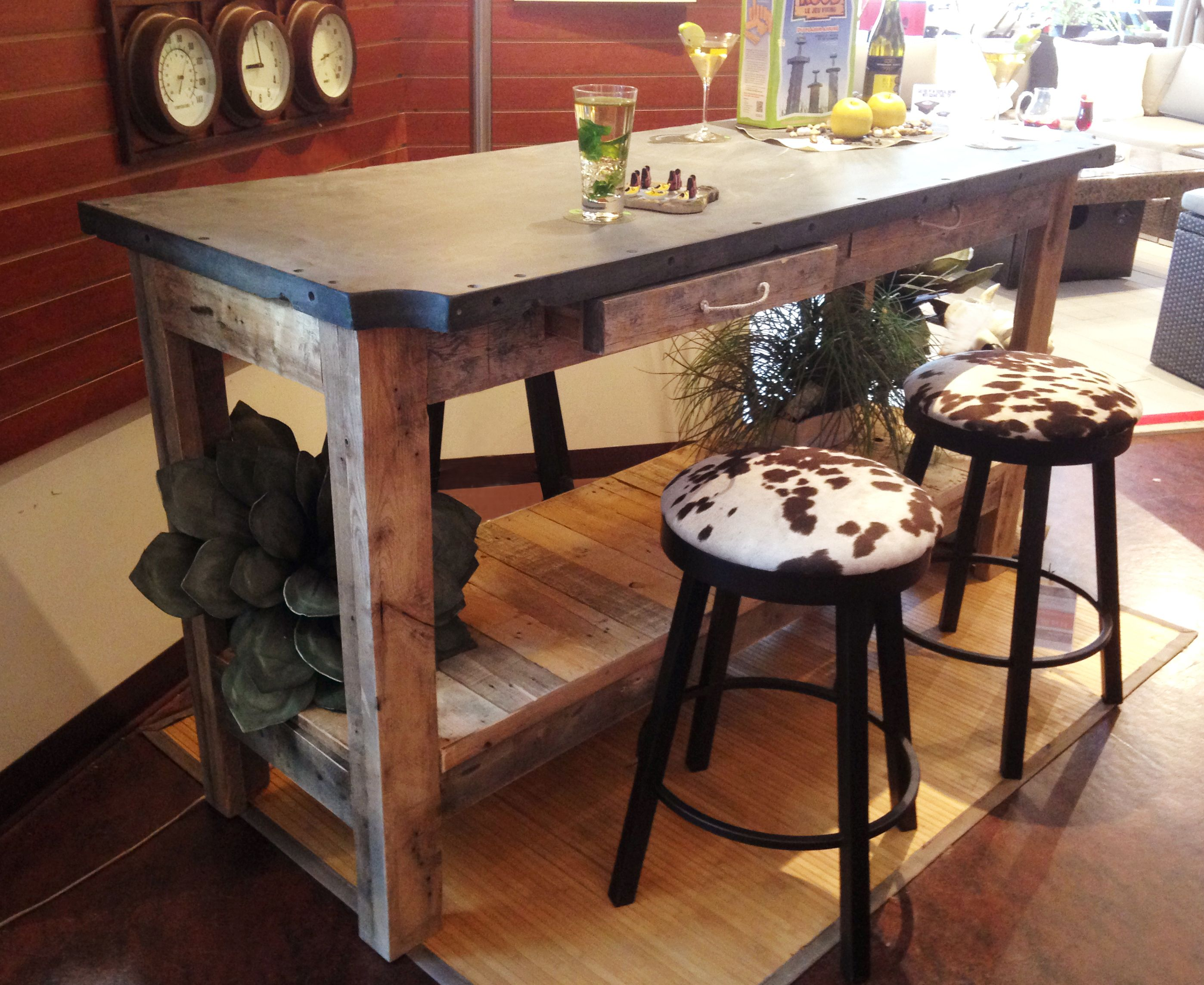 Unique Slate Top Industrial Dining Bar Table Made With A