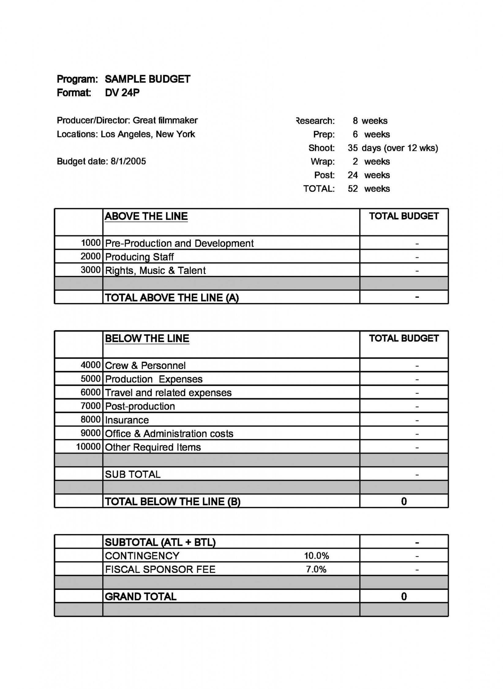Browse Our Image Of Documentary Film Budget Template In 2020 Budget Template Excel Budget Template Budgeting