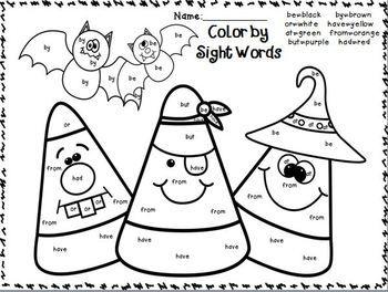 Freebie In The Download Preview Color By Sight Words October Edition Themes Fall Pumpkin Kindergarten Fun Halloween Kindergarten School Activities