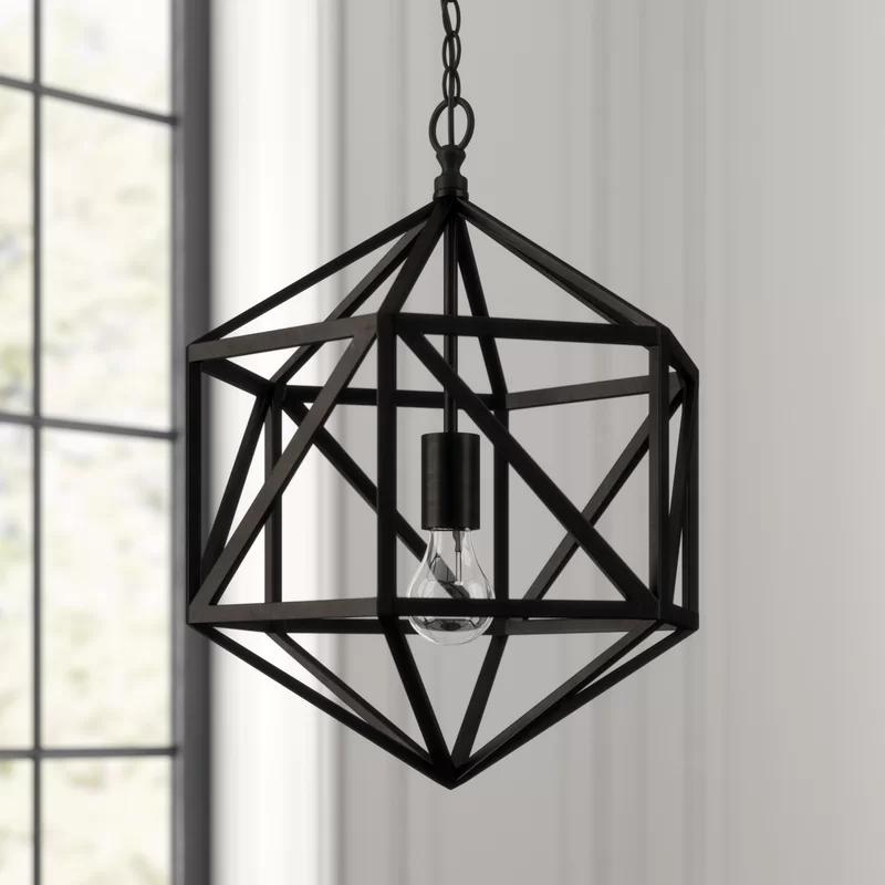 Diamond 1 Light Single Geometric Pendant Geometric Pendant Light Geometric Light Fixture Wrought Iron Pendant Light