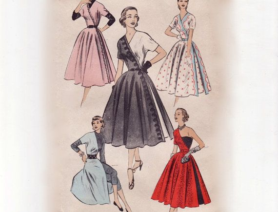 Vintage 50s Sewing Pattern - Unusual Evening Dress or 1/2 Dress ...