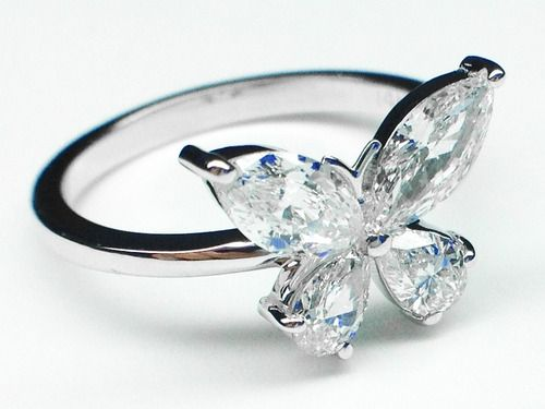 Mixed Cut Butterfly Diamond Ring 1 carat total weight in 14K White Gold - ER227