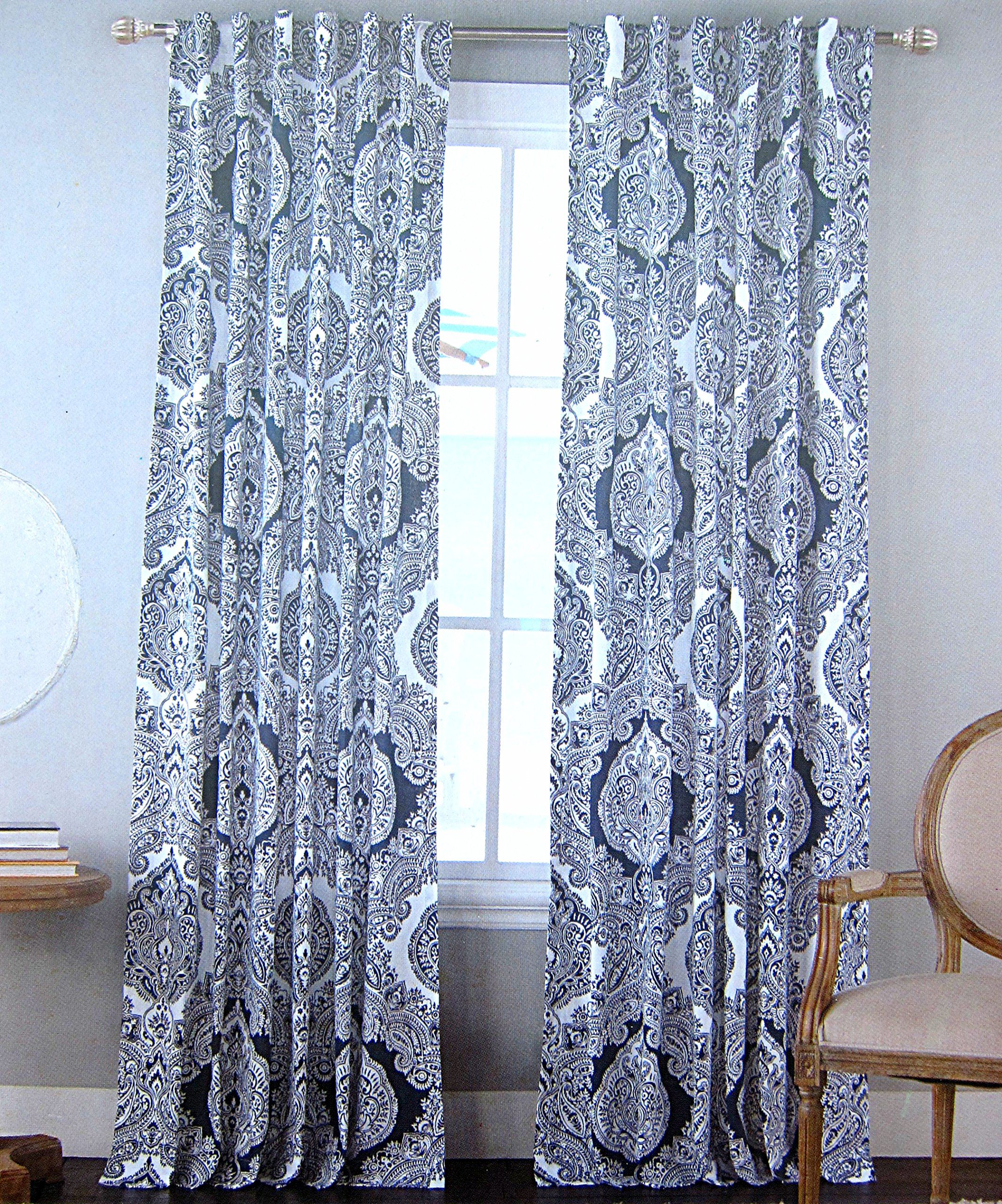 Envogue Window Curtains Paisley Damask Medallions Navy Blue White 50 By 96 Inches