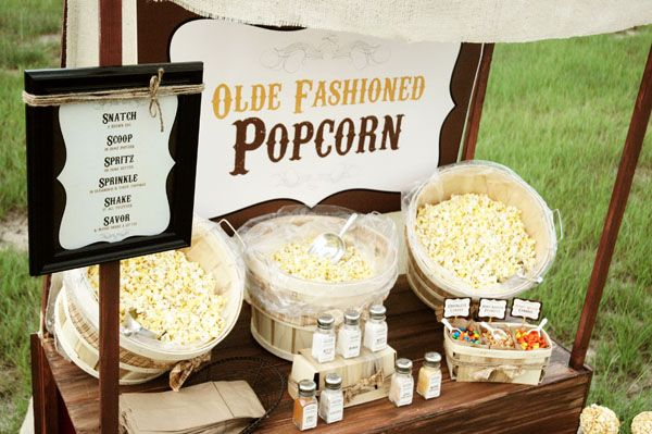 The most amazing popcorn bar I've ever seen......so fun! Would be great for a movie night party too.......