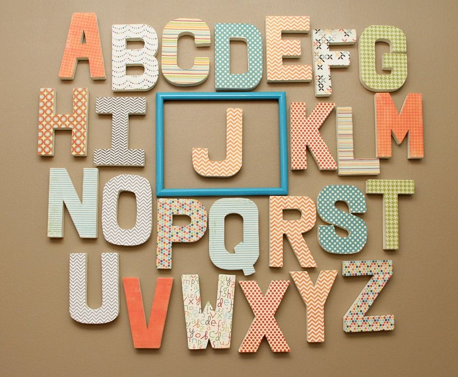 How To Diy Nursery Wall Letters With Sbook Paper And Mod Podge By V A M H