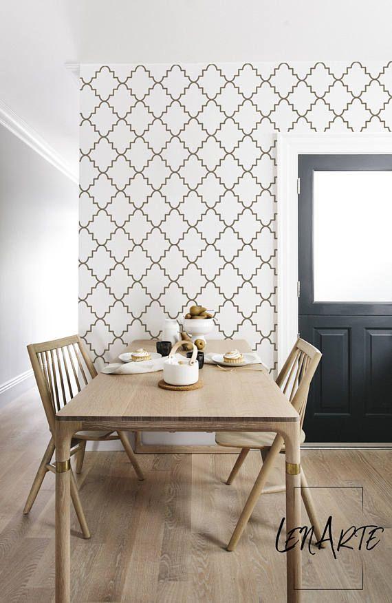 Moroccan Gold Wallpaper - Removable Wallpaper - Modern Pattern
