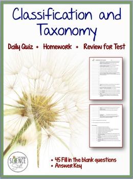 Classification Of Living Organisms Taxonomy Quiz