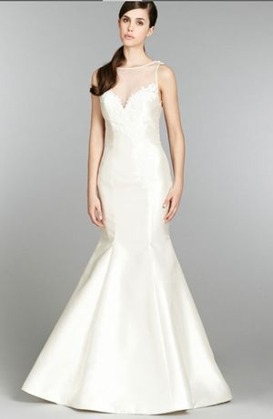 Illusion Mermaid Wedding Dress  with No Waist/Princess Seams in Mikado. Bridal Gown Style Number:32770687