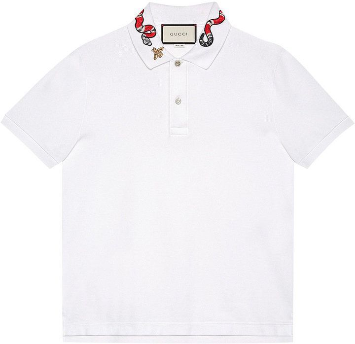 Gucci Kingsnake embroidered polo shirt #whiteembroidery
