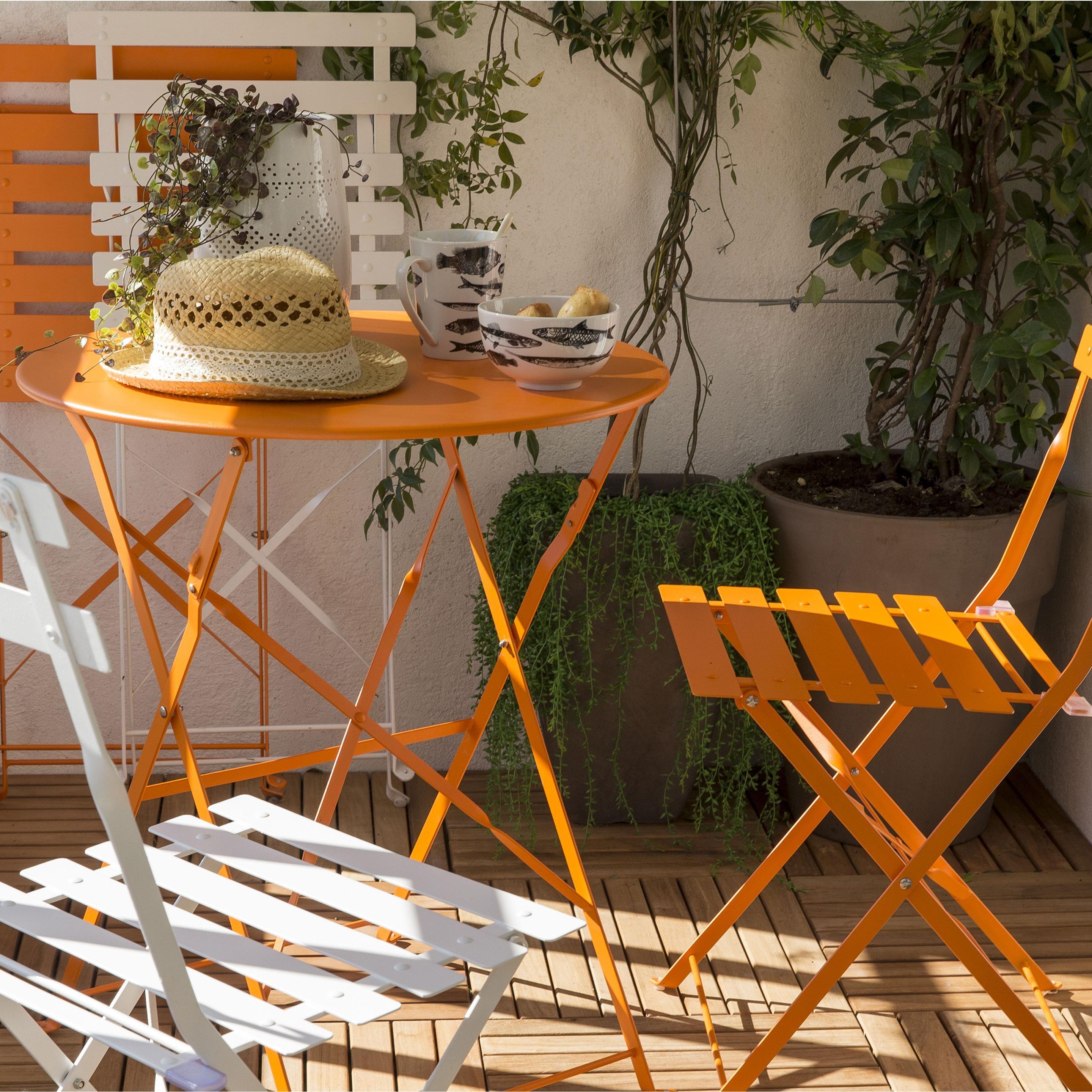 Table Repas 2 Personnes table de jardin de repas flore ronde orange 2 personnes no