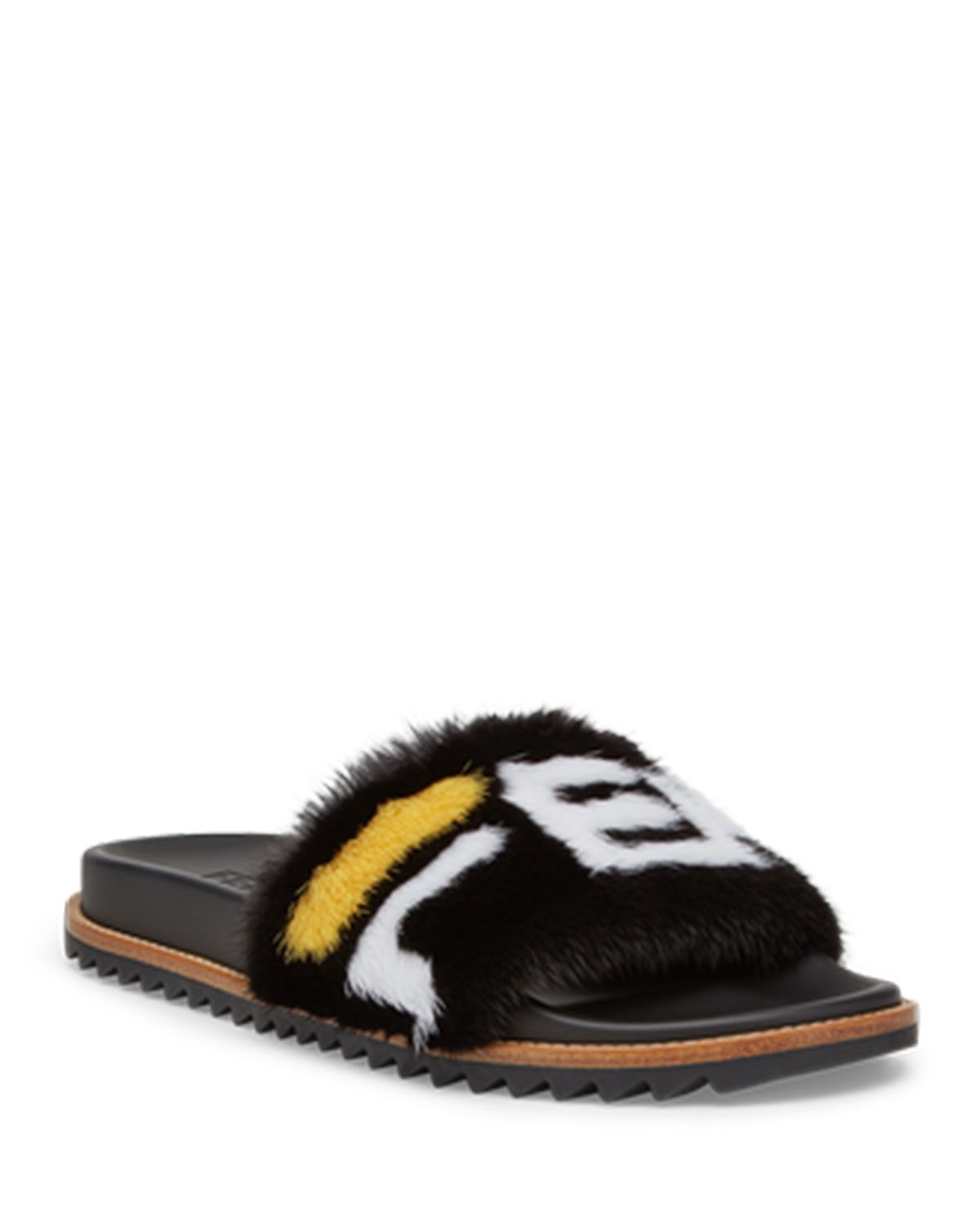 5cef84827634 FENDI MEN S FENDI MANIA LOGO-PRINT MINK FUR SLIDE SANDALS.  fendi  shoes