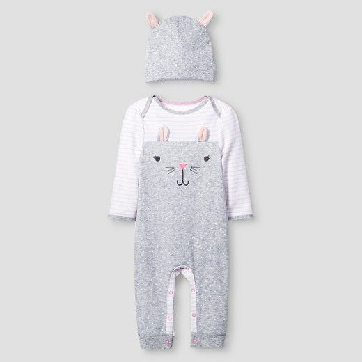 26f2c09aa Baby Girls' 2 Piece Bunny Coverall Set Baby Cat & Jack™ - Pink/Heather Grey  : Target