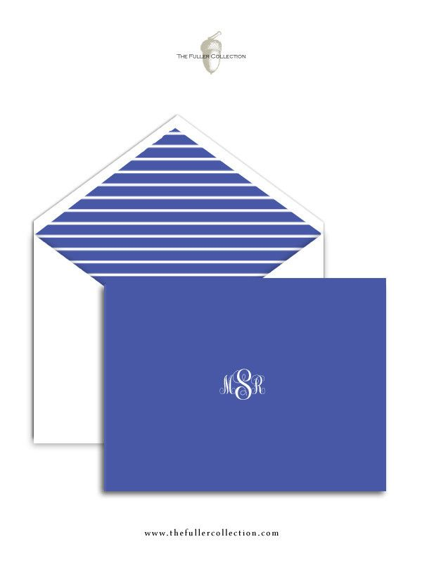 Personalized Fold Over Note Cards - Periwinkle Monogram Me