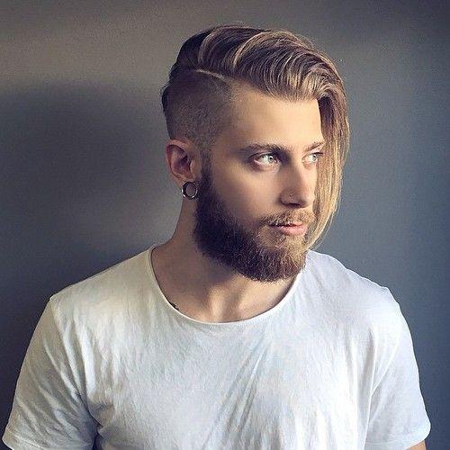 Langes Haar Der Männer Mit Einem Undercut Einem Langes Manner