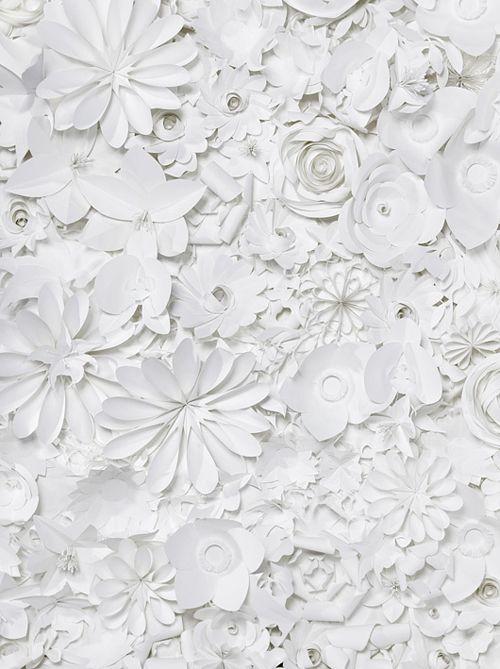 hvidt i hvidt, papir blomster