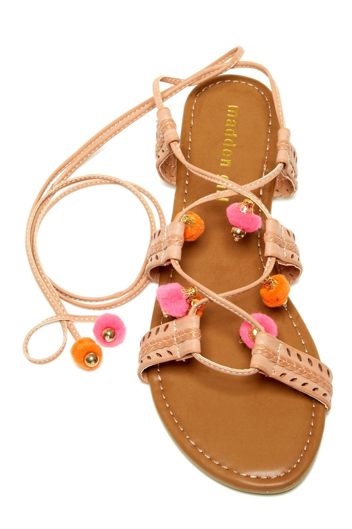b9e55573e83 Swooning over these Madden Girl Baliee Pompom Sandals