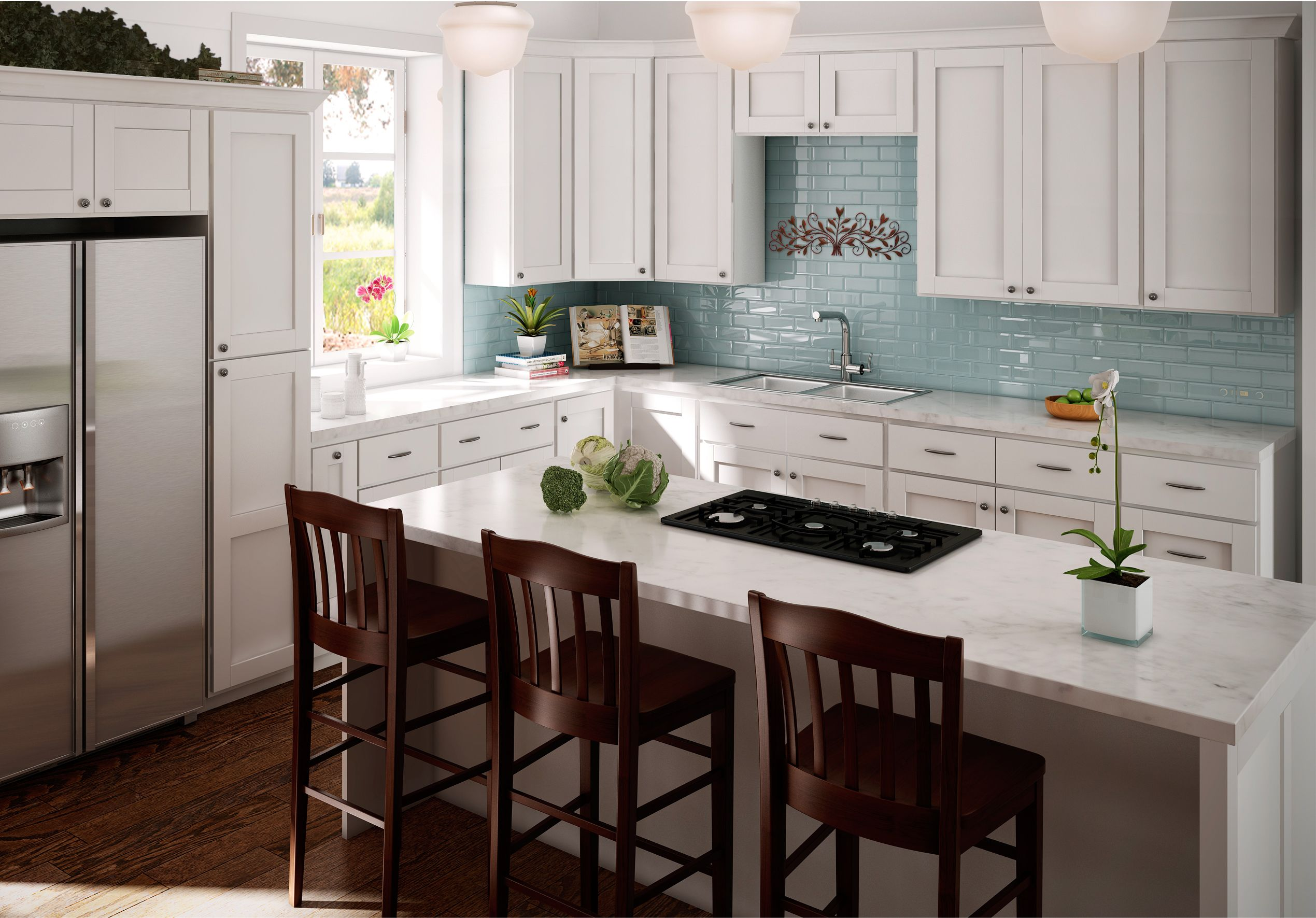 Sunnywood Shaker Hill White Kitchen Cabinets Kitchen Cabinets Kitchen And Bath Showroom Kitchen Utensils Store