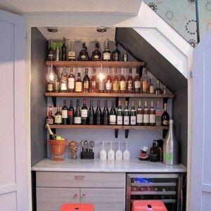 Mini Bar Under Stairs Mini Bar Under Stairs Stairs Cabinet | Bar Under Stairs Design | Stair Storage | Basement Remodeling | Floating Shelves | Space | Escaleras