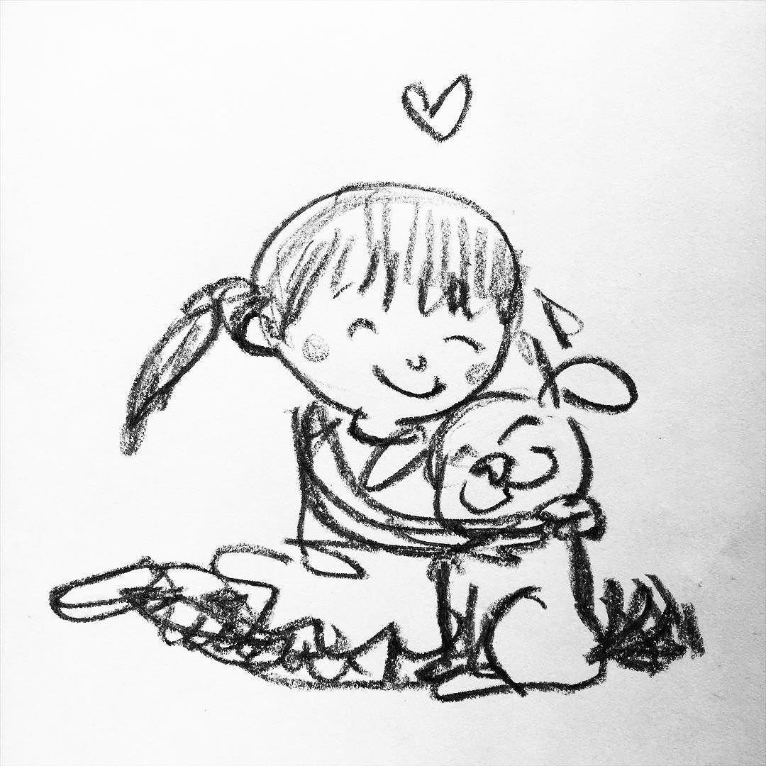 By Jarrett J. Krosoczka: A girl and her pug.  #pug #puglife #jjkdailysketch #dailysketch #writinglife #graphicnovels #lunchlady