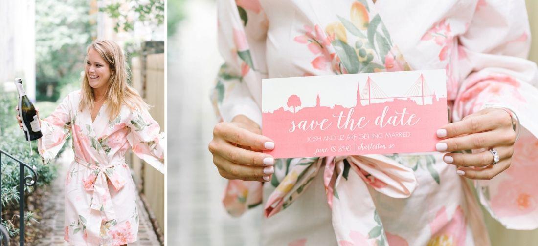 Pink And Ivory Charleston South Carolina Wedding Save The Date Card