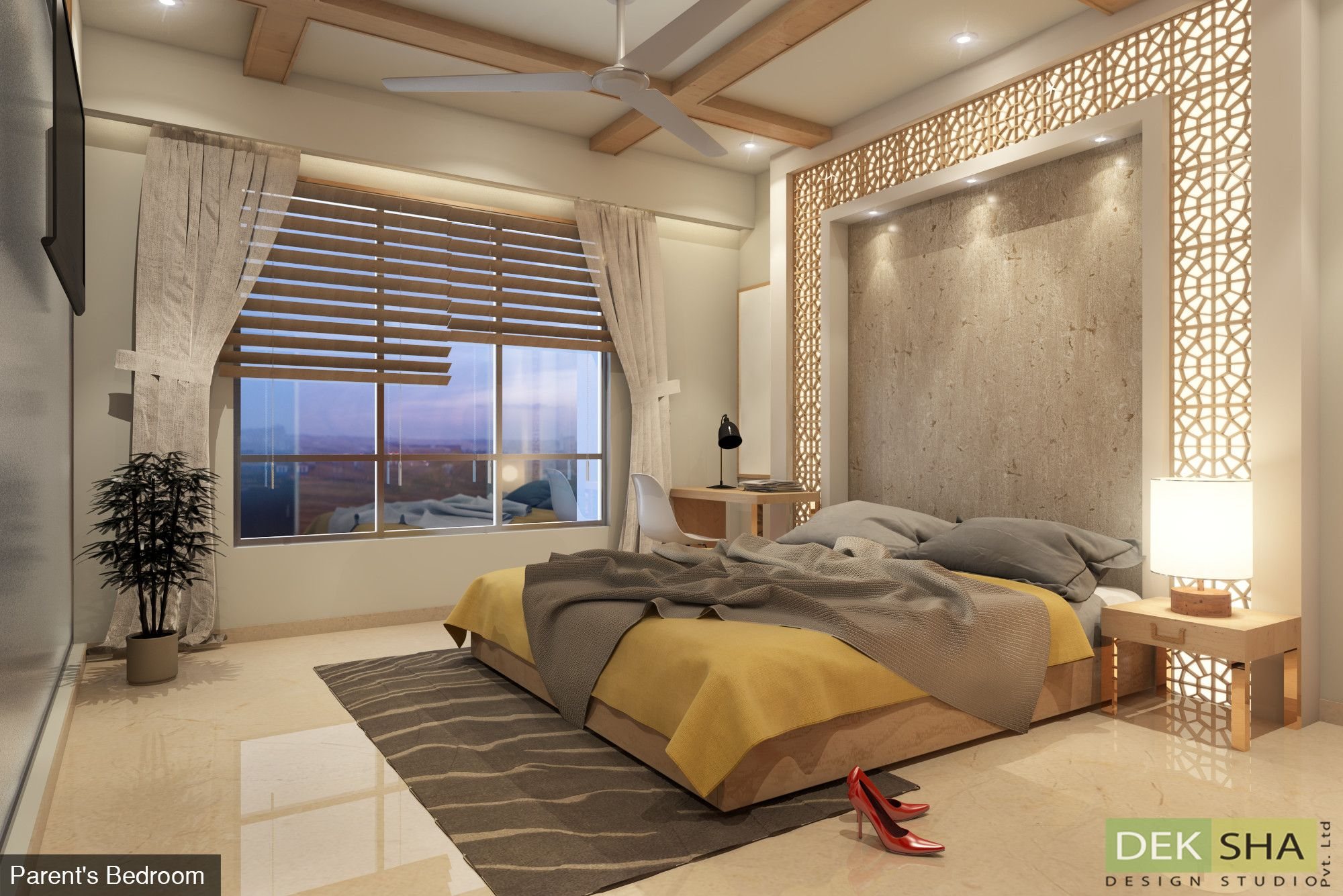 Bed With Side Units And Classy Paneling Work At Back Wall Bedroom