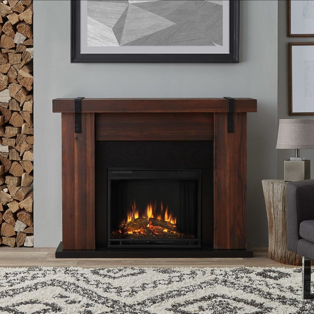 Real Flame Aspen Indoor Electric Fireplace Chestnut Barnwood
