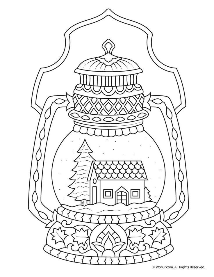 Winter Snow Globe Adult Coloring Page | Woo! Jr. Kids Activities