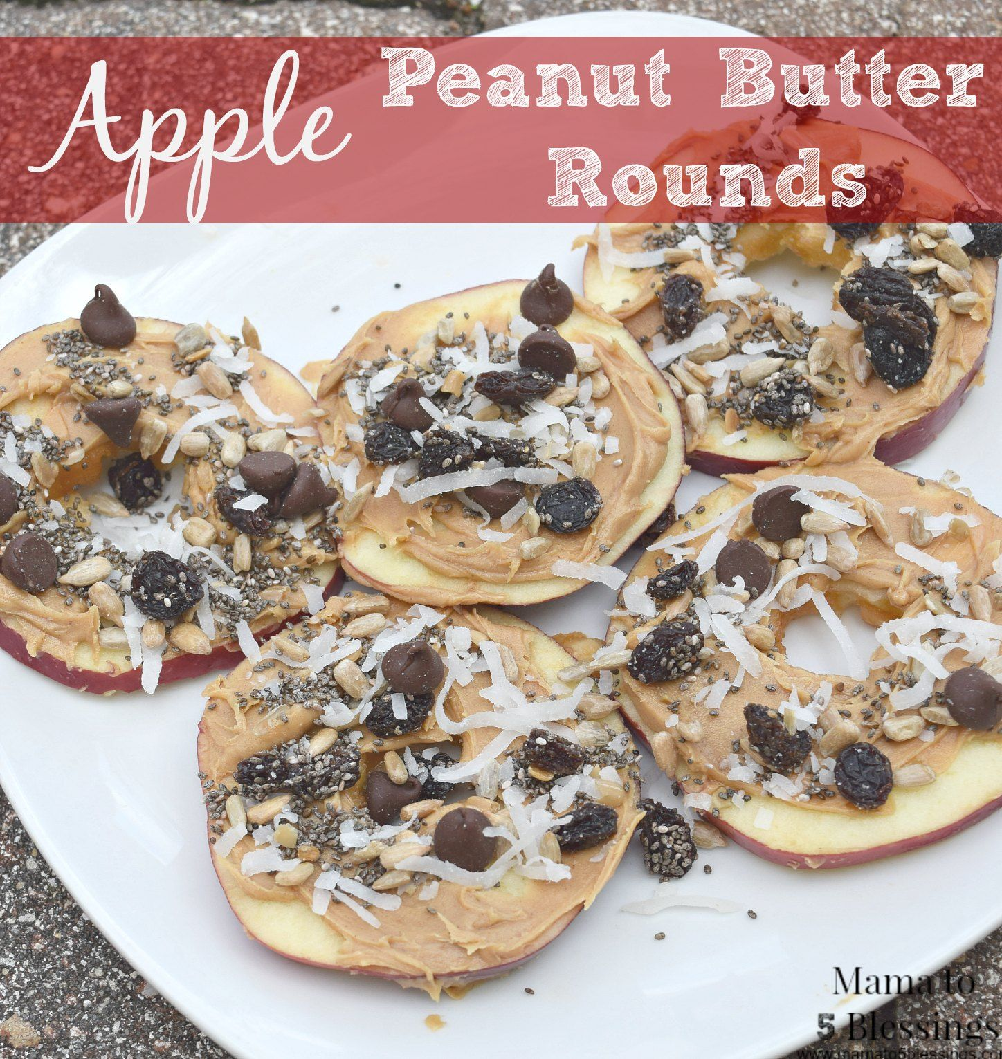 Apple Peanut Butter Rounds, perfect healthy recipe for kids. Can be modified several ways to children's likes or if they have allergies http://mamato5blessings.com/2015/10/apple-peanut-butter-rounds/