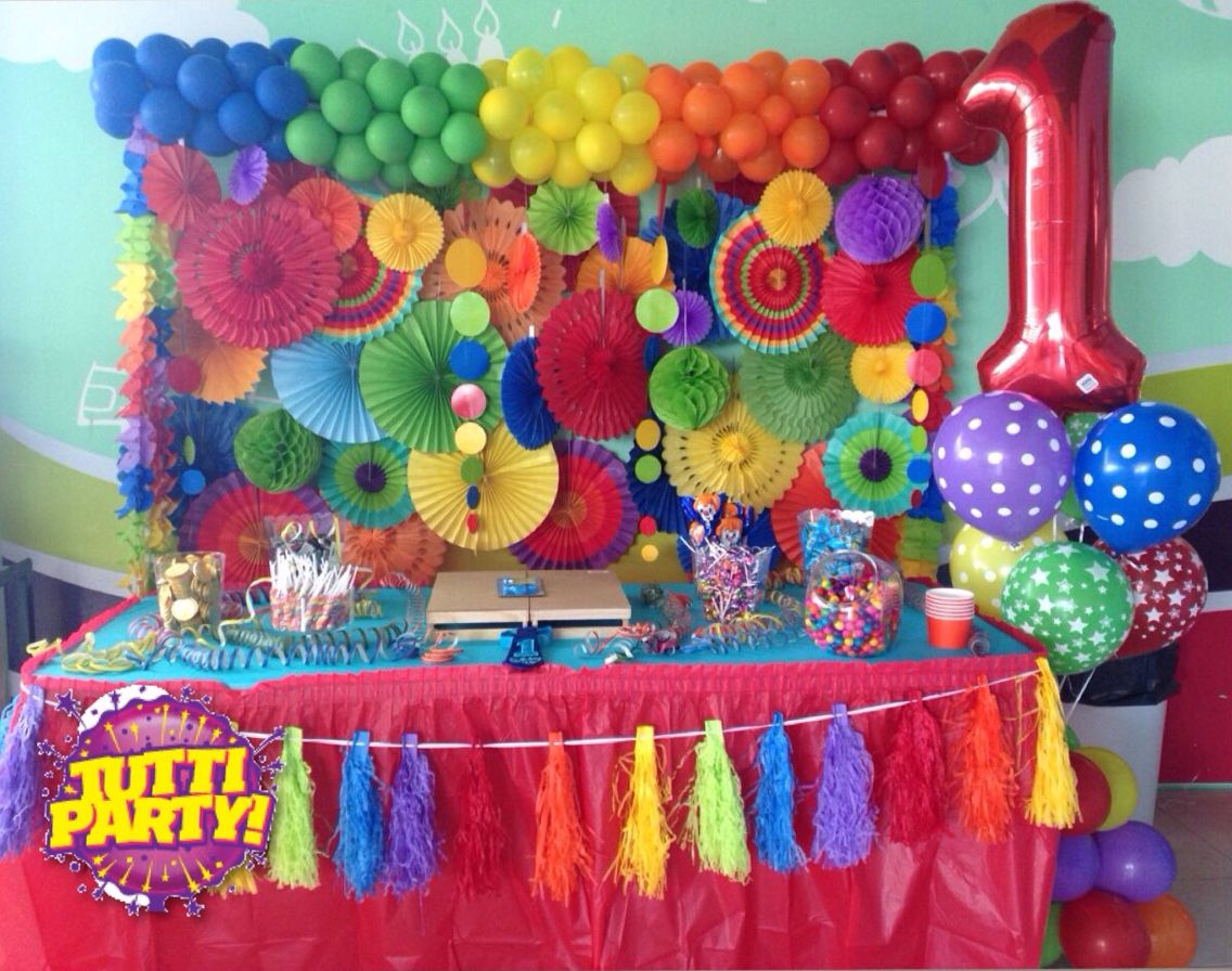 Party balloons decorations - Rainbow Dessert Party Banner Party Fan Decorations Fan And Balloons Decorations Beautiful