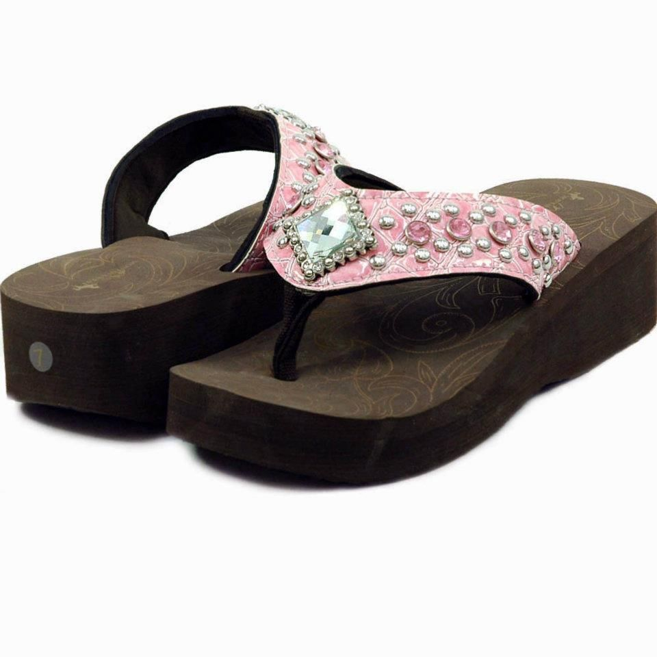 Women's Flip Flops w/ Croco Upper & Rhinestones~ $35.00 Shipped!  Colors/Sizes available~ Light Pink~ 6 8,