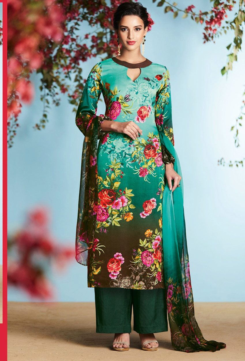 Turquoise #Georgette #Satin #Printed #Palazzo Suit #printed ...