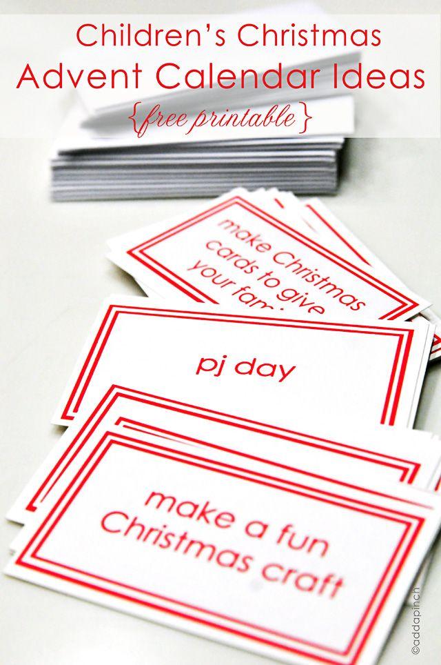 Children\u0027s Advent Calendar Printable {Free} Christmas Pinterest
