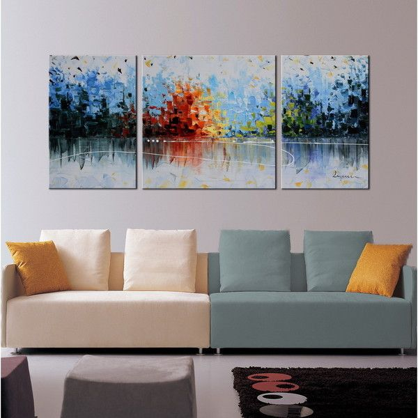 Hand Painted Cheerful Melody 3 Piece Gallery Wrapped Oil On Canvas
