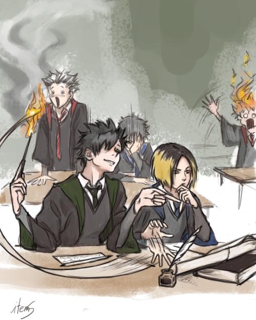 Haikyuu Hq Harry Potter Potterverse Kenma Kozume Kuroo Kuro Tetsouro Bokuto Koutaru Akaashi Keji Bokuaka Kuroken Ship A Haikyuu Anime Anime Crossover Haikyuu
