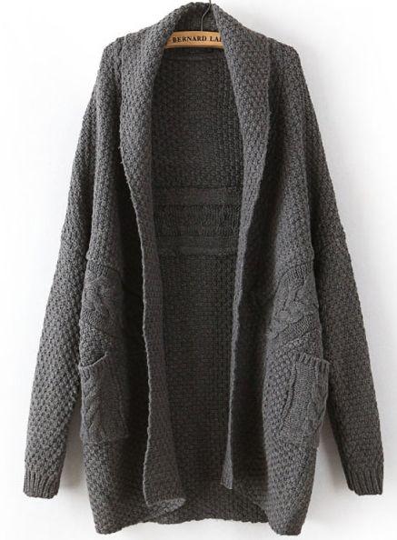 Dark Grey Long Sleeve Cable Knit Pockets Cardigan - Sheinside.com ...