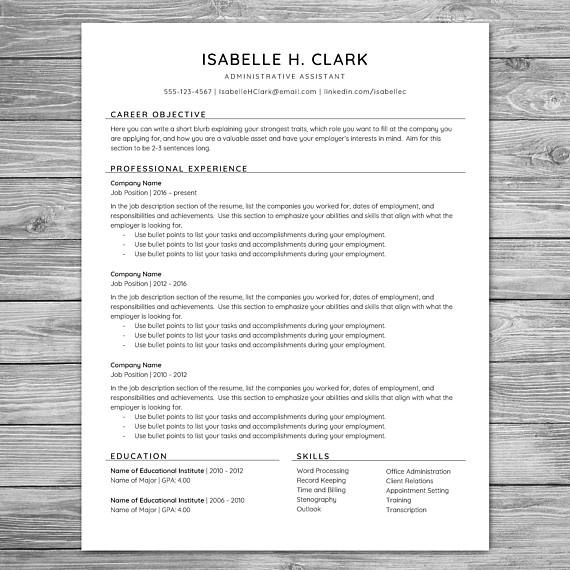 Professional Reference Sheet Template Professional Minimalist Resume Template Cv Template Printable .