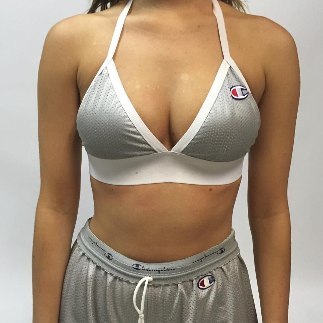 89a205c5c8e285 Vintage Rework Champion Mesh Bralette ( 35) ❤ liked on Polyvore featuring  intimates
