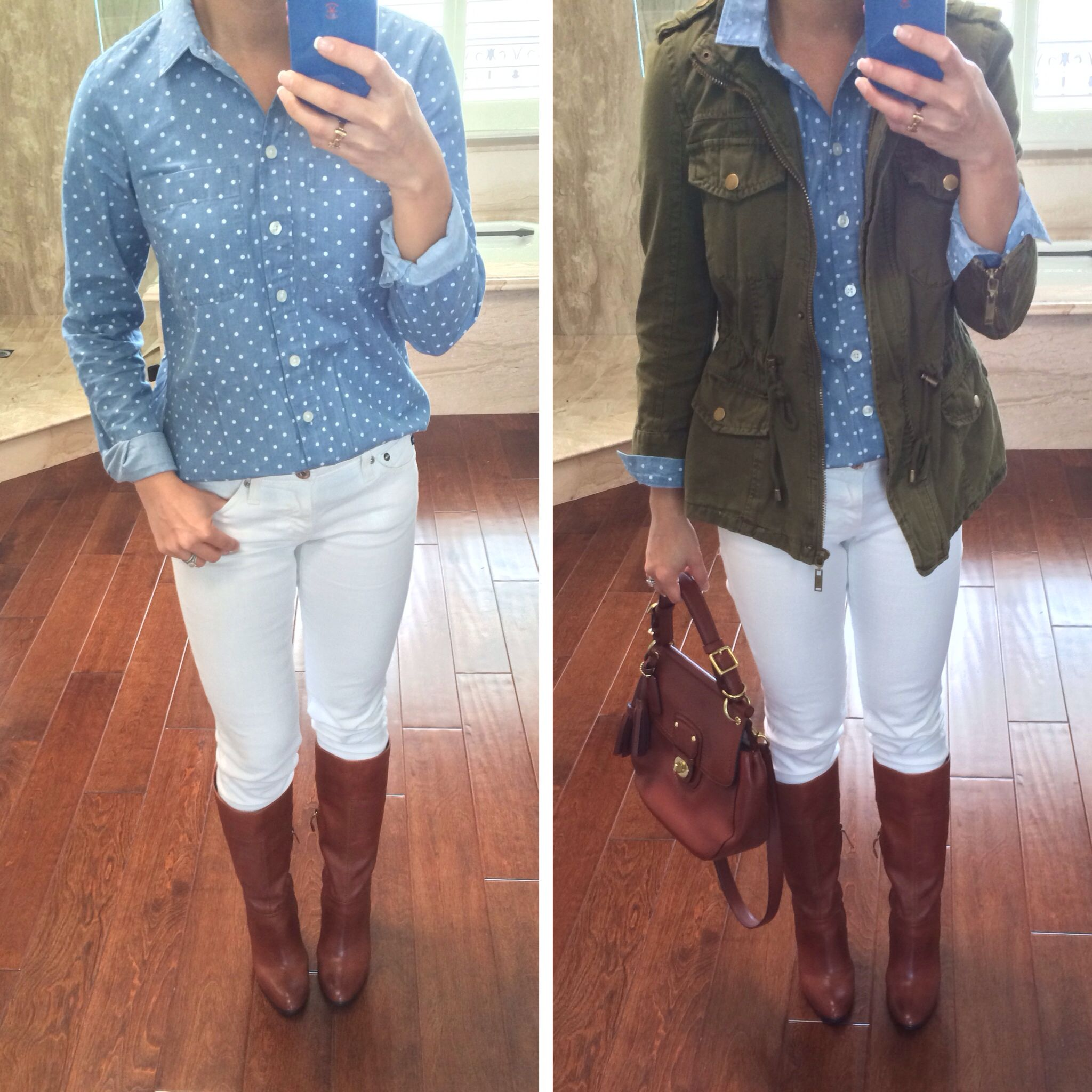 Causal weekend outfit: Loft polka dot chambray shirt, Forever 21 ...