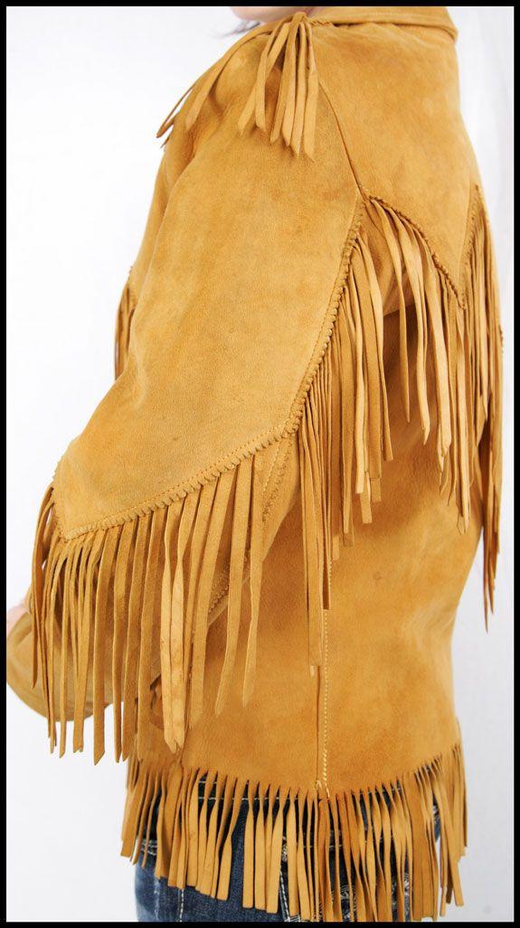 Details About Vtg 60s Western Buckskin Leather Fringe