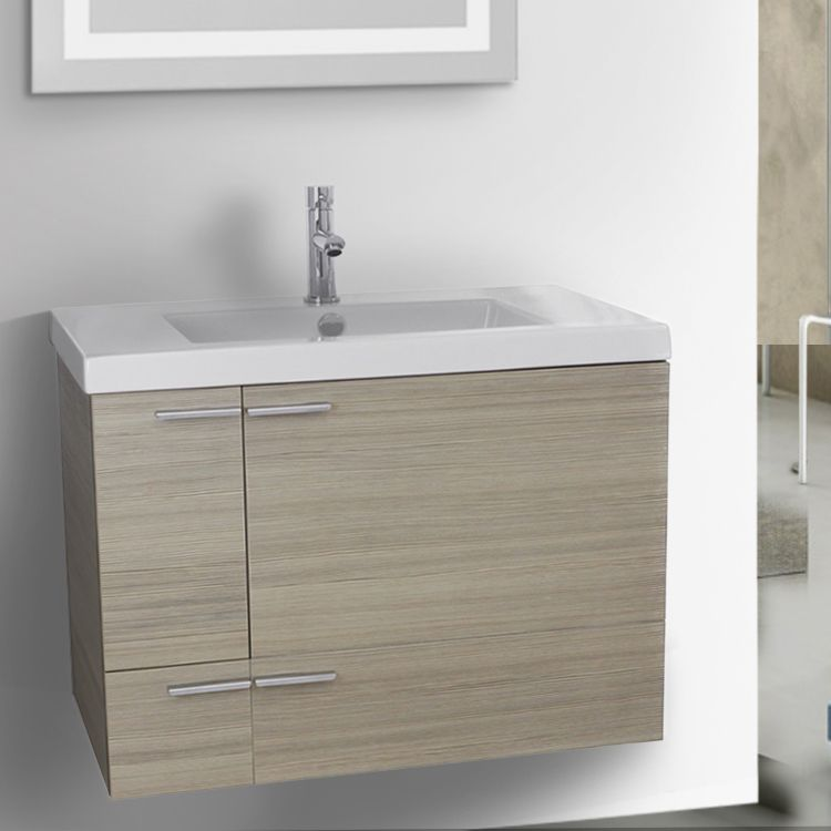 Set Includes Wall Mounted Vanity Cabinet 2 Doors 1 Drawer High End