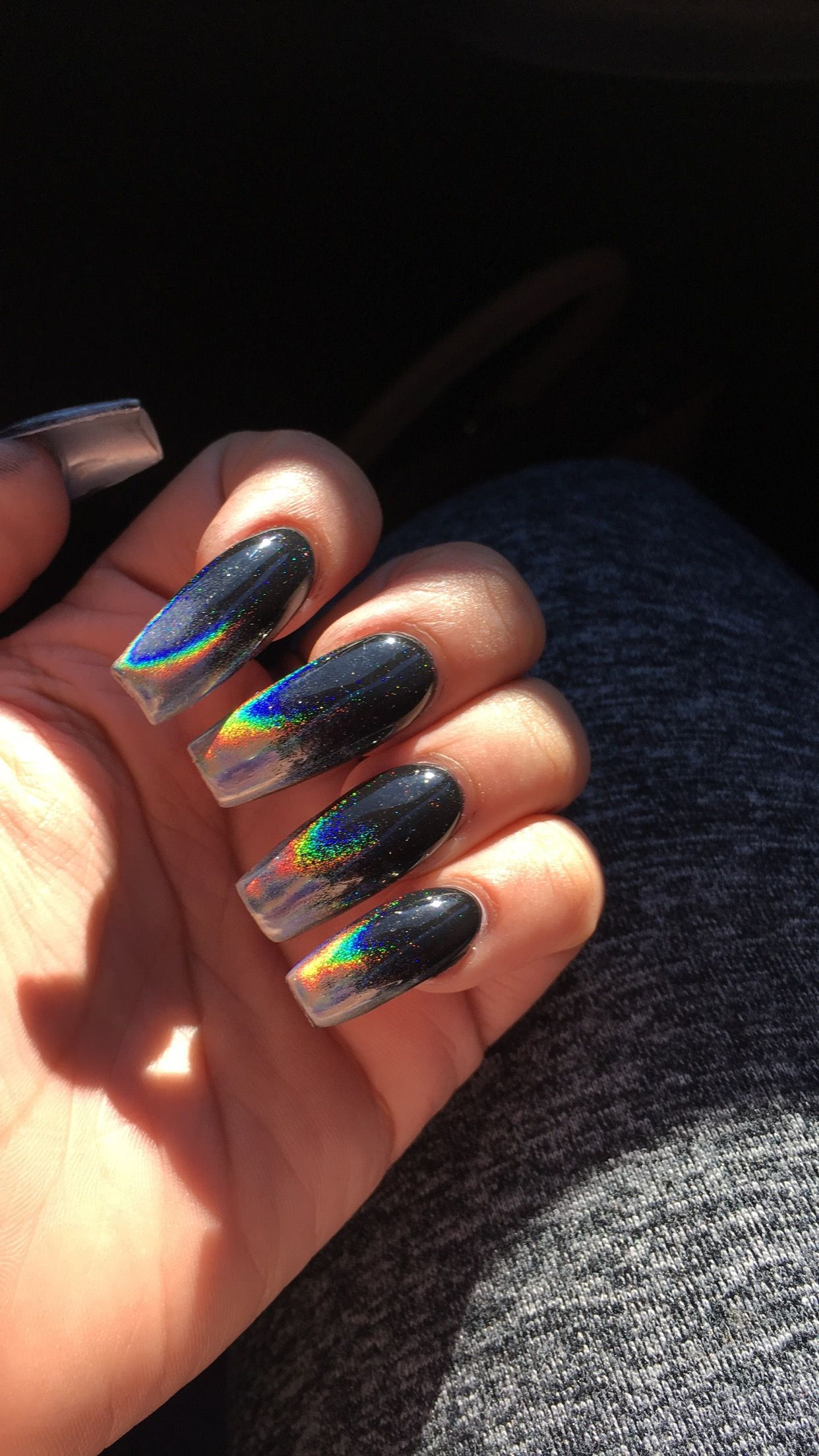 Chrome black ombré nails | Chrome nails | Pinterest | Chrome nails