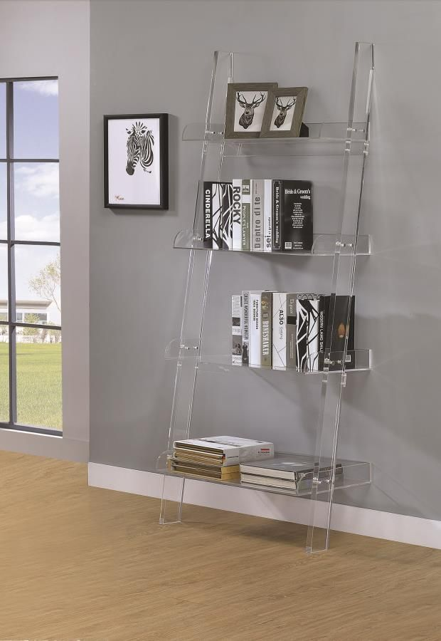 Bridget Collection 801553 Clear Acrylic Ladder Bookcase Acrylic
