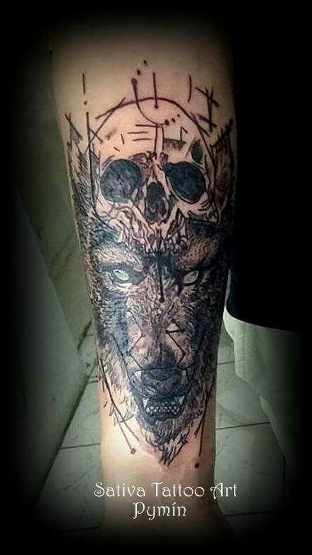 Lobo calavera sativa tattoo art pinterest for Calavera lobo