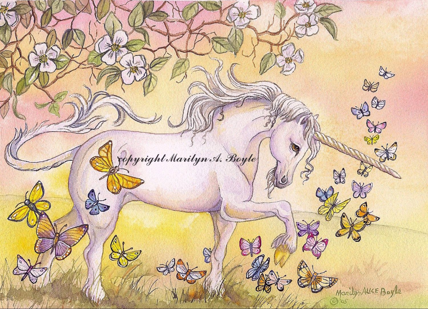 GICLEE FANTASY PRINT; Unicorn, 10 x 14 inches, butterflies, blossoms ...