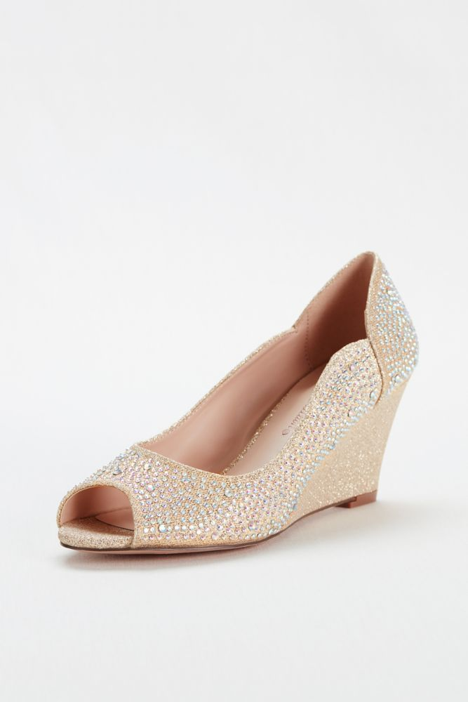 abd945ae54a12 Crystal Peep Toe Glitter Wedge by Blossom - Nude Metallic, 8 Women's ...