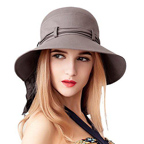 a8285b717 Women's Summer Solid Color Bucket Hat Wide Large Big Brim... | UPF ...