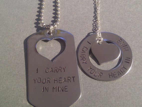 I Carry Your Heart In Mine Hand Stamped by TheHipstrJewelryShop, $50.00