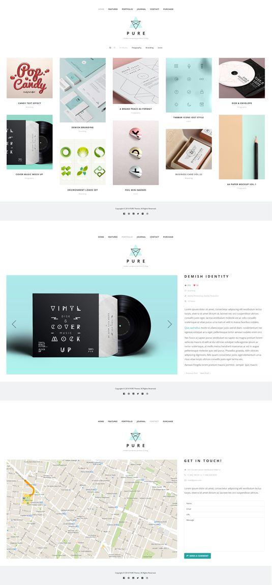Pure Free Portfolio WordPress Theme | Pinterest | Portafolio